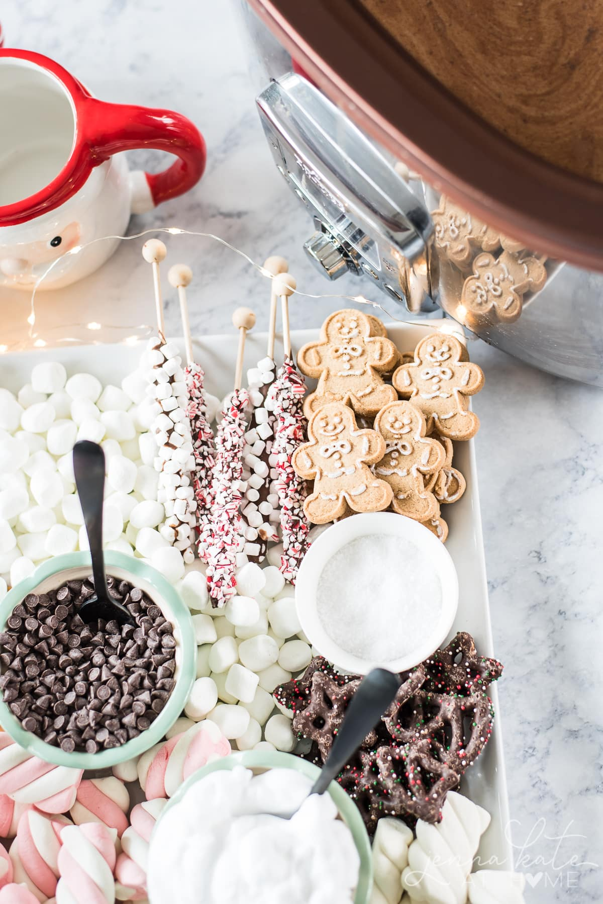 this easy Dessert Charcuterie Board has all the perfect accessories for a delicious cup of hot chocolate
