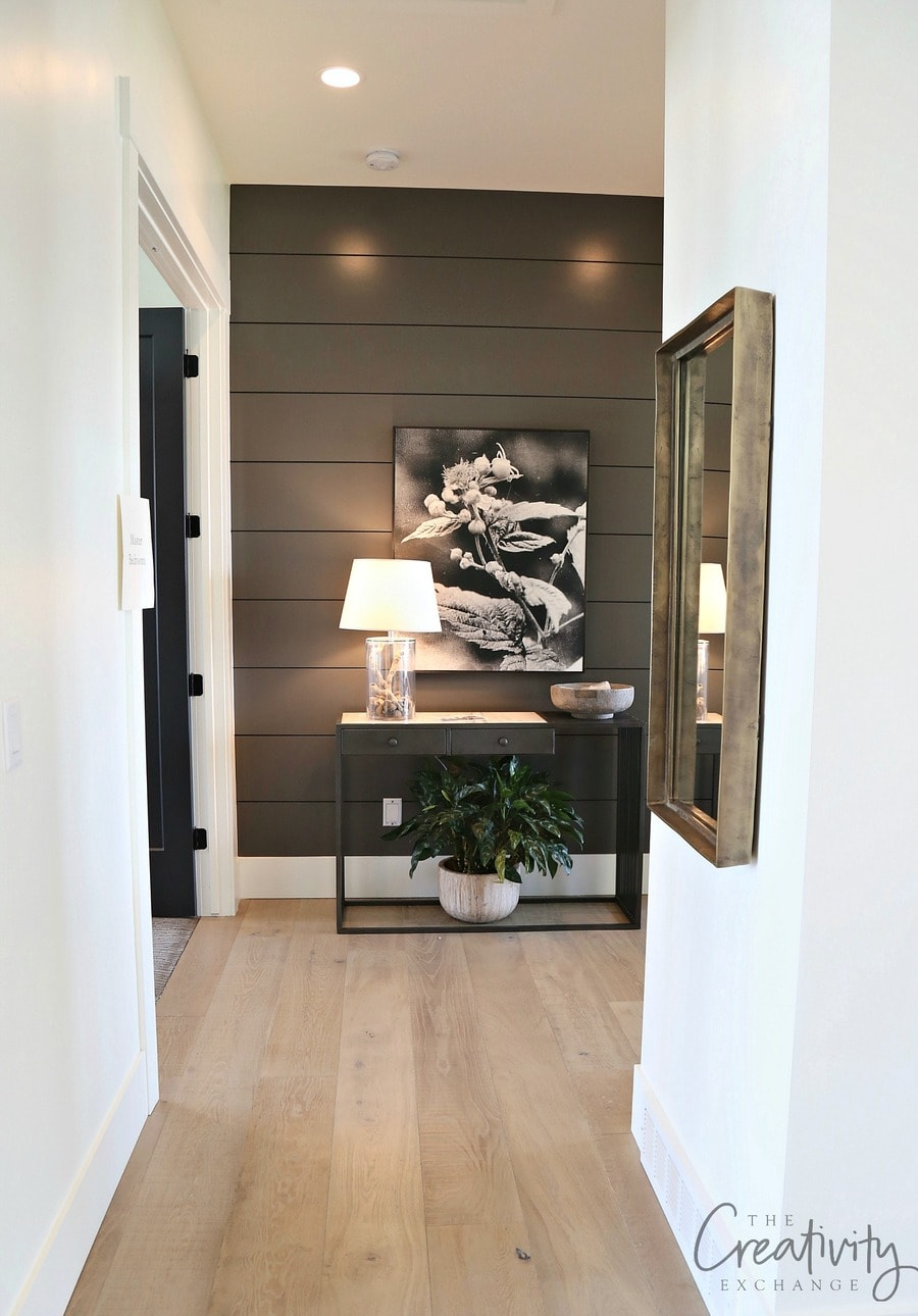 BM Charcoal Gray accent wall in hallway