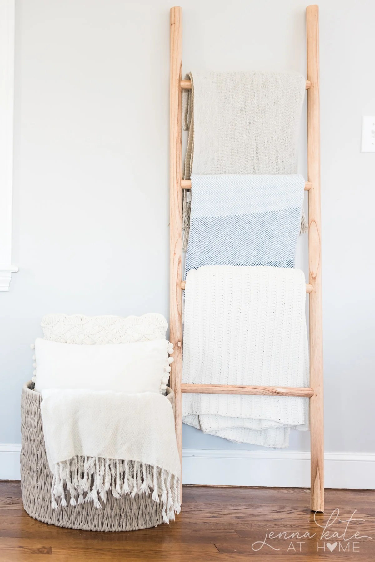 Blanket ladder with gray walls