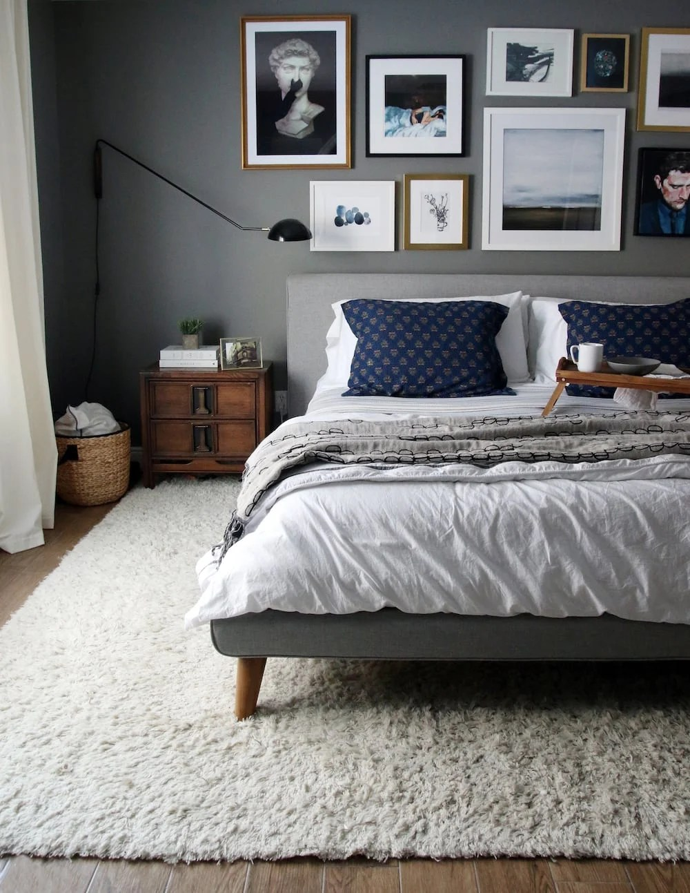 BM Chelsea Gray bedroom adds drama to a dark bedroom