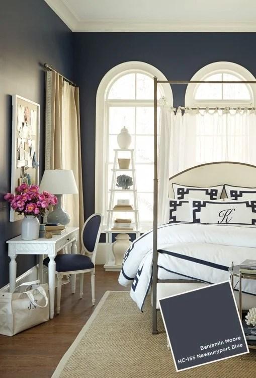 Bedroom painted dark blue