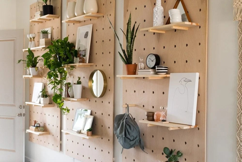 Modern DIY Pegboard display with shelves  makes great vertical storage