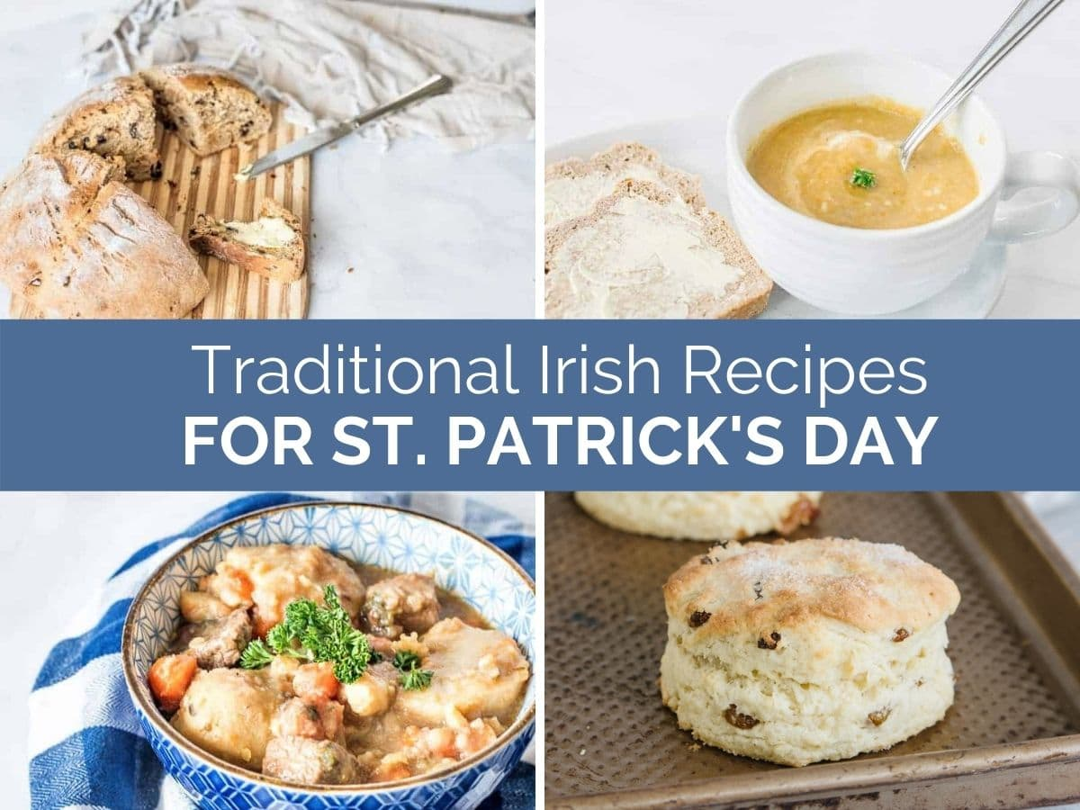 Traditional Irish recipes for St.Patrick's Day header with text overlay