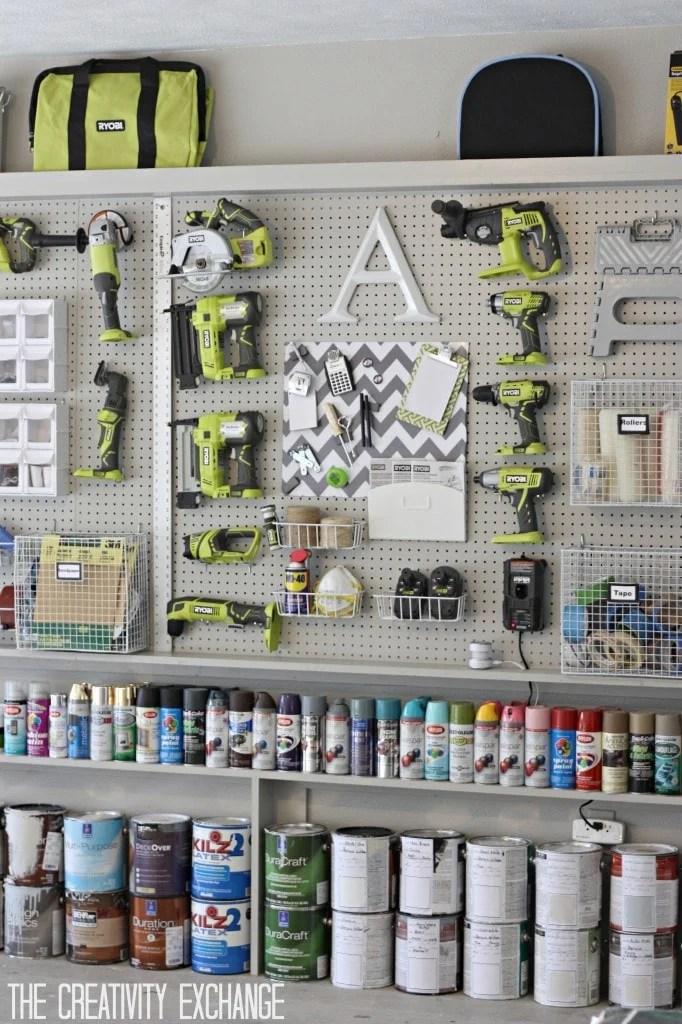garage pegboard display with tools