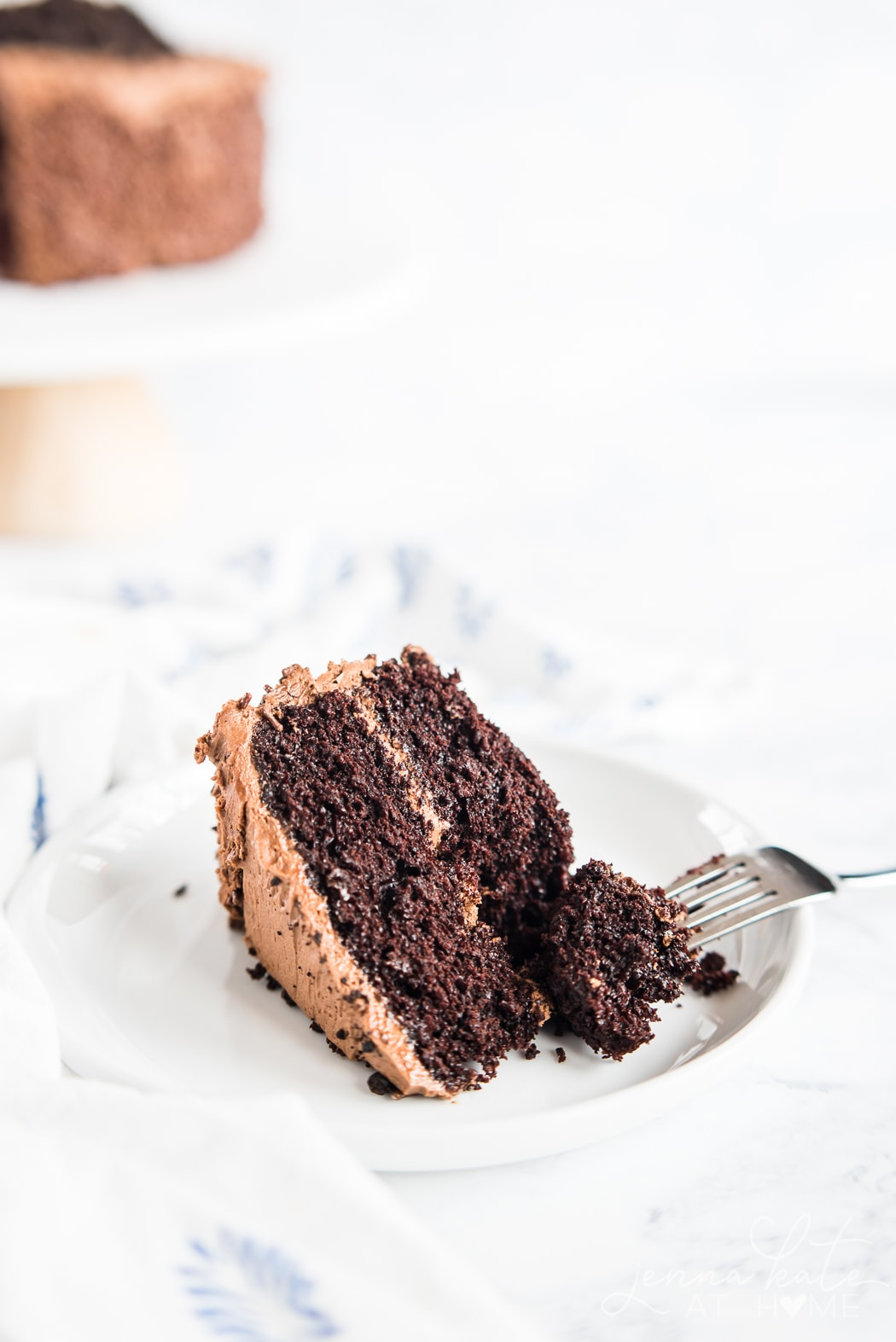 Light and fluffy chocolate cake thanks to ingredients like coffee and buttermilk