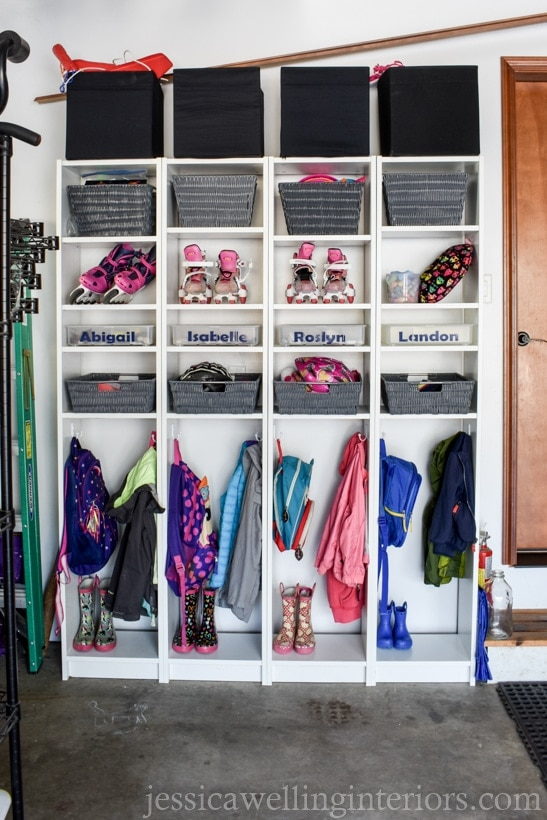 garage mudroom and dropzone for backpacks, shoes and sports equipment