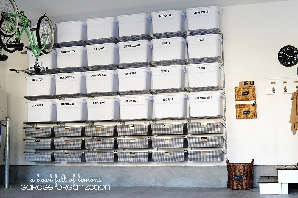 Organized tote bins with labels