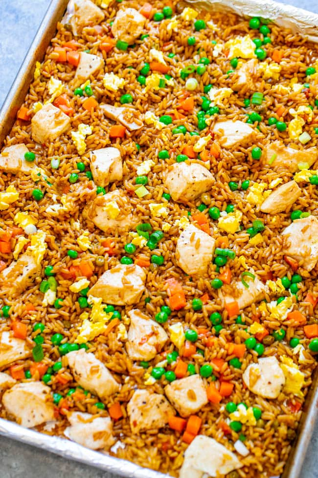 Sheet pan chicken fried rice is an easy meal the whole family will enjoy