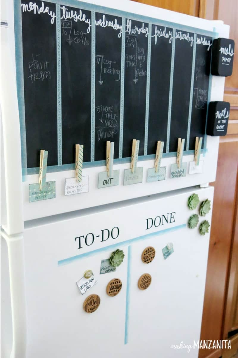 Clever fridge command center idea with chalkboard, pegs and magnets