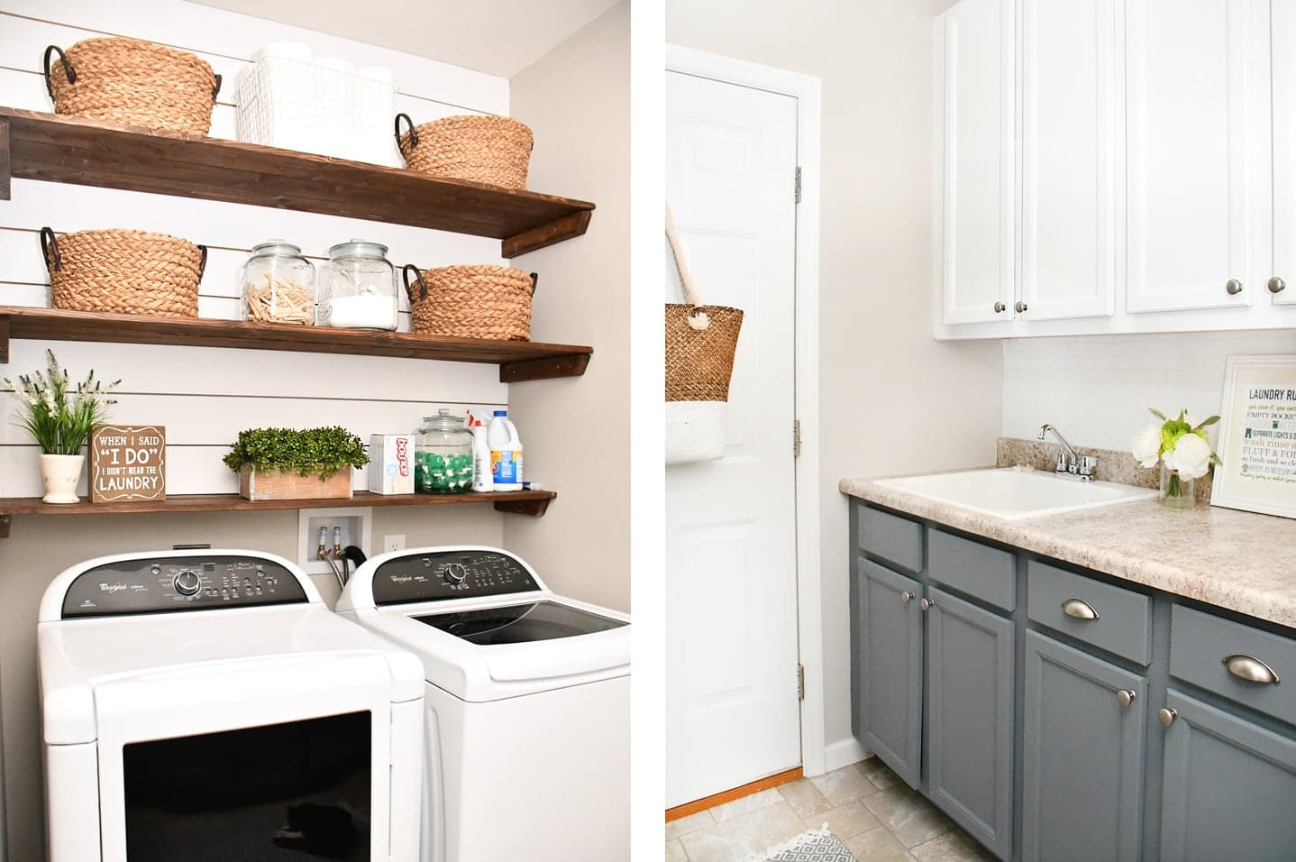 Sherwin Williams Colonnade Gray laundry room