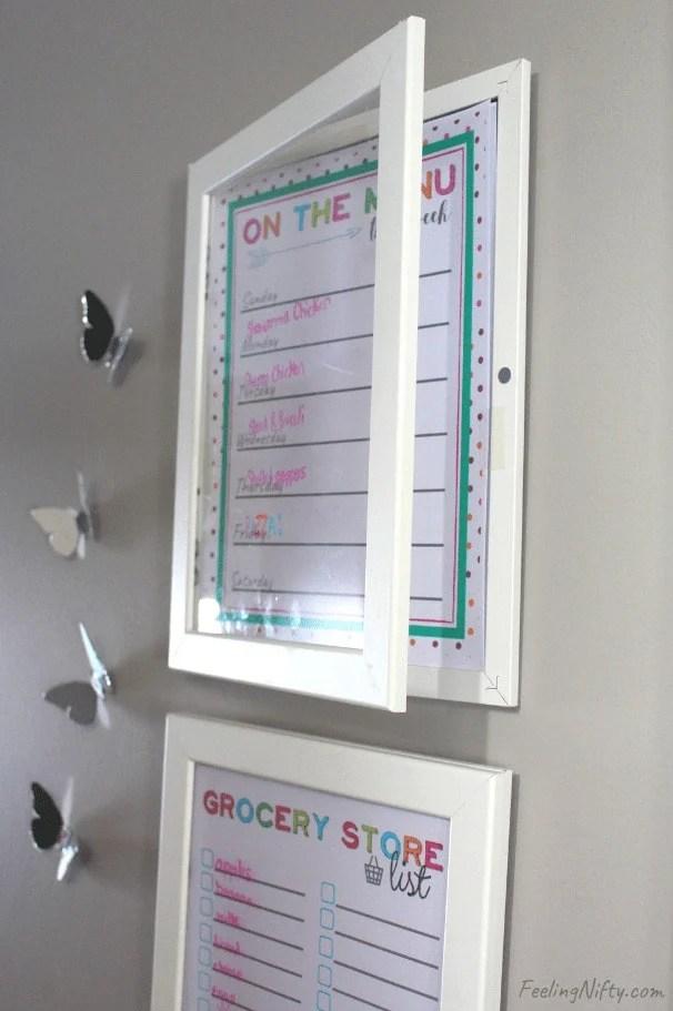 DIY framed whiteboard command center idea