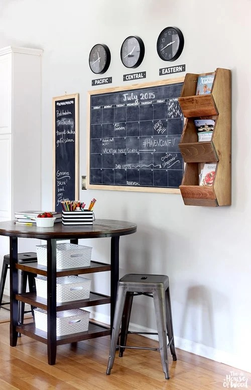 Multiple chalkboards and clocks on different time