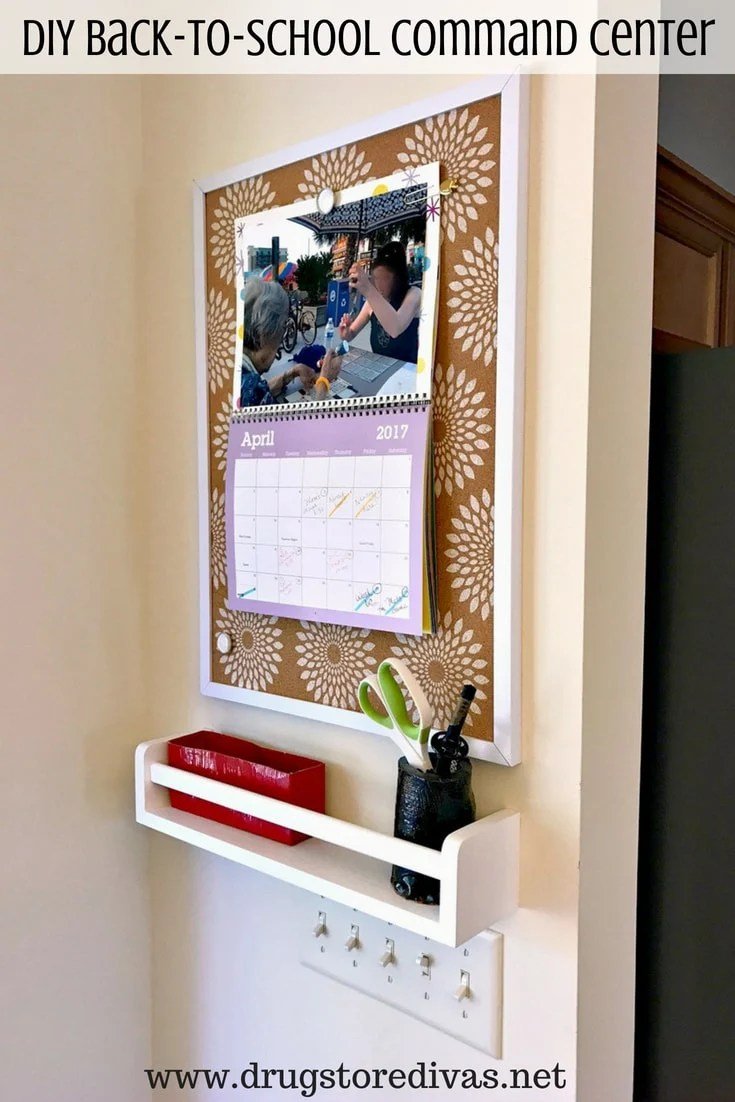 Simple shelf and bulletin board for a DIY command center for the home