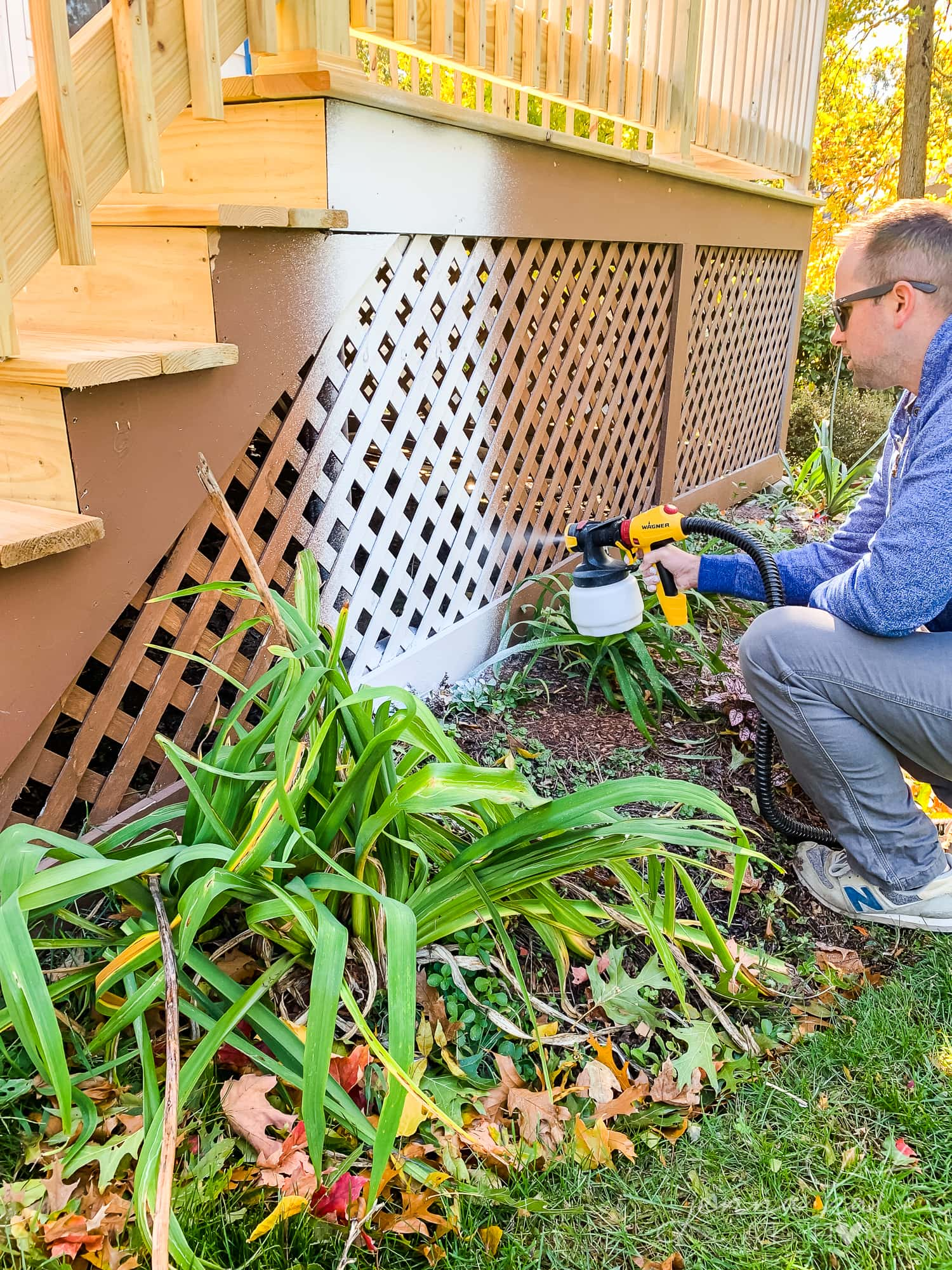 Use Wagner Spraytech paint sprayer to paint the deck white