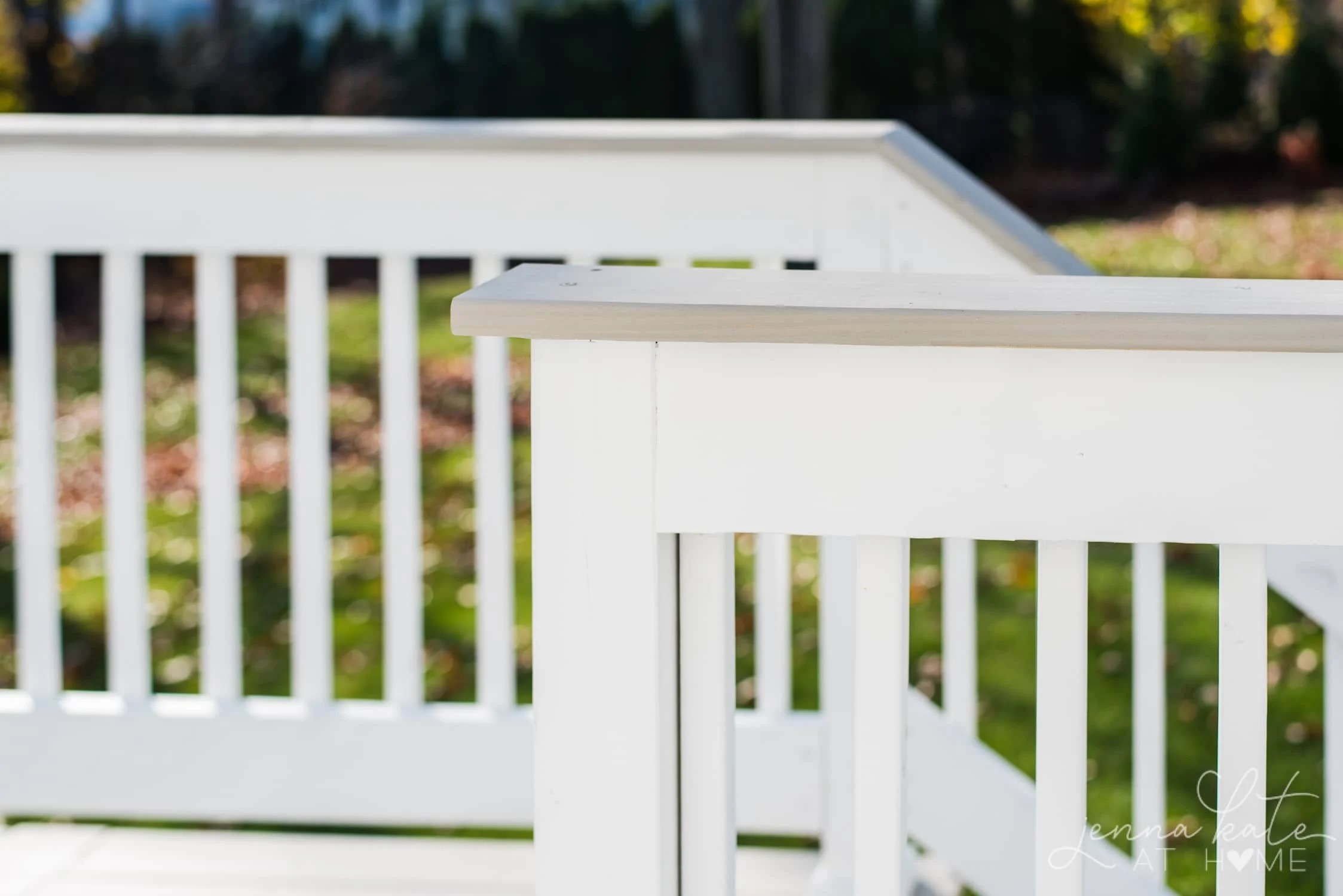Sherwin Williams Pure White on an exterior wood deck