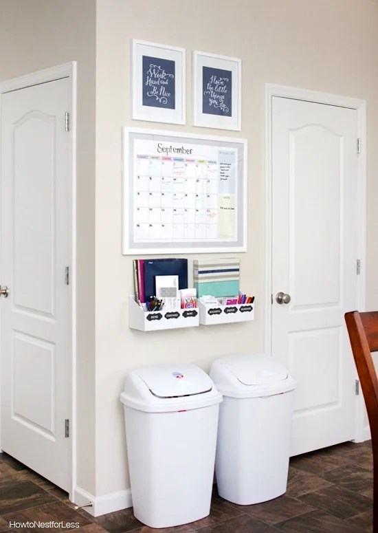 Simple kitchen command center idea for the whole family