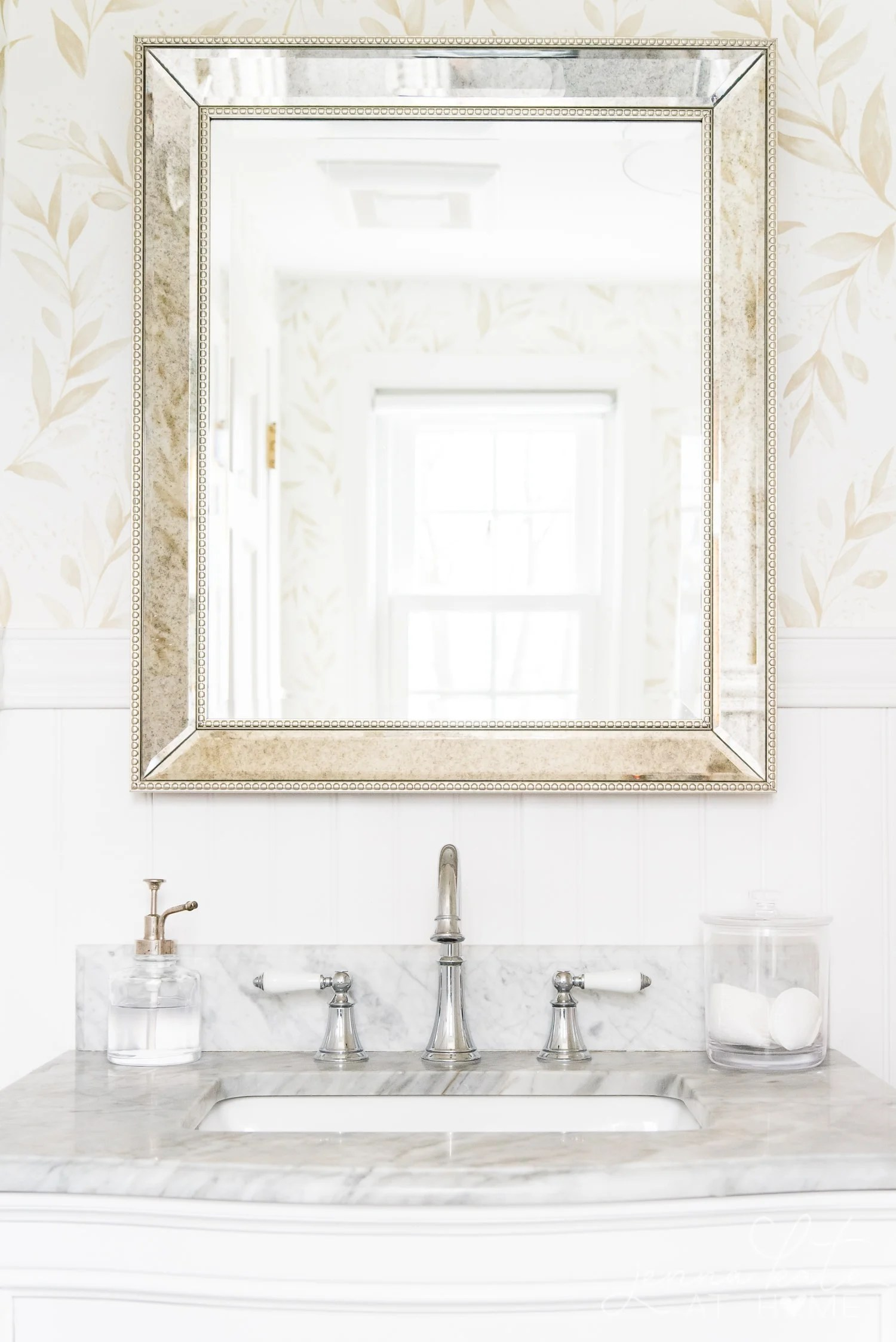 Large mirror over vanity in the bathroom