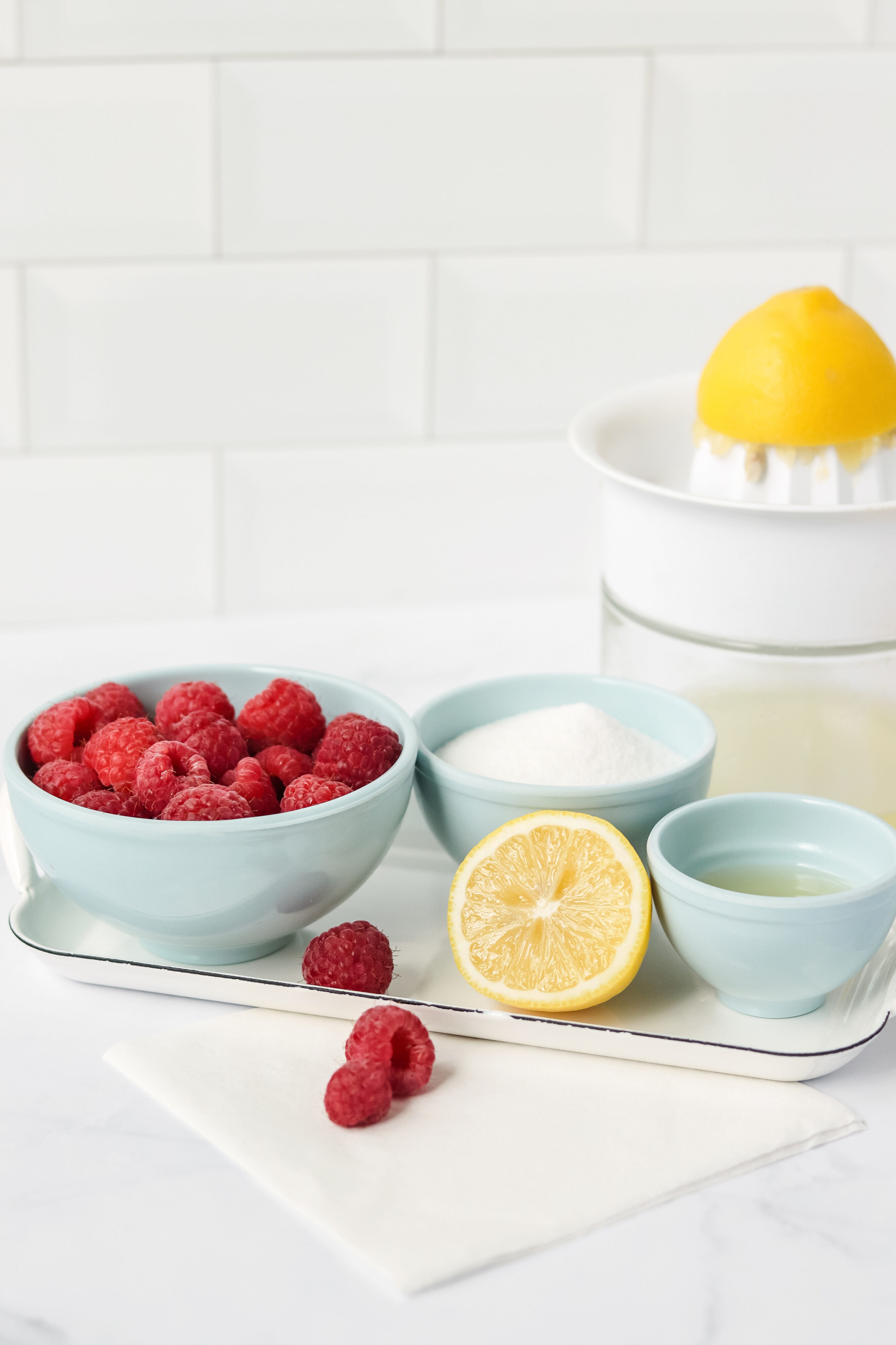 Homemade raspberry sorbet ingredients