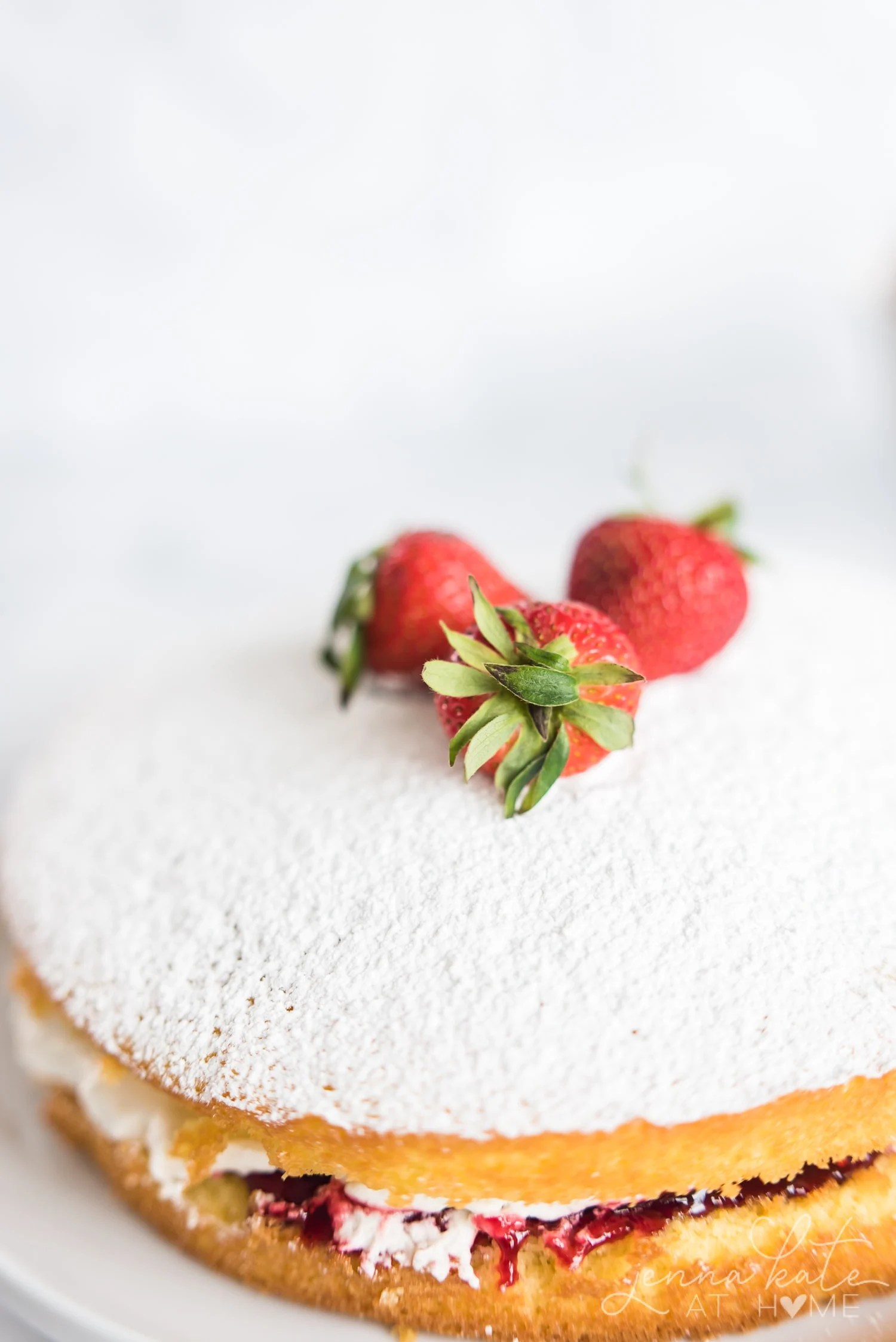 Strawberries on top of sponge cake dusted with powdered sugar
