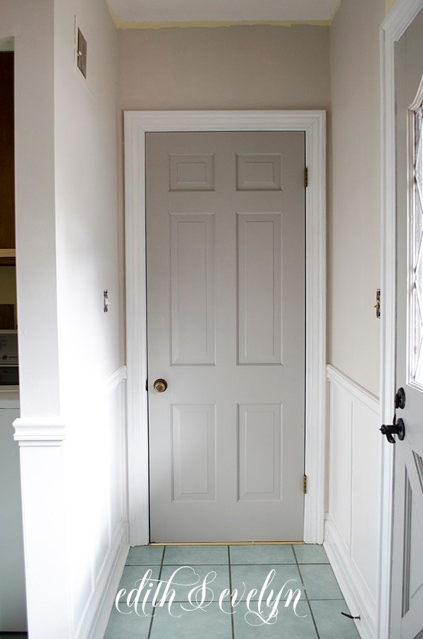 Interior door painted Agreeable Gray