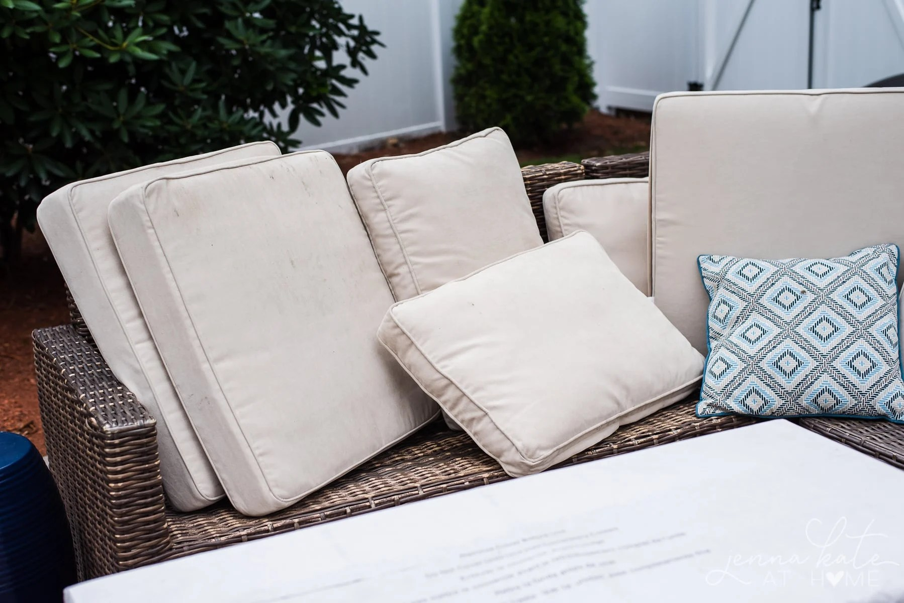 dirty patio cushions that need to be washed