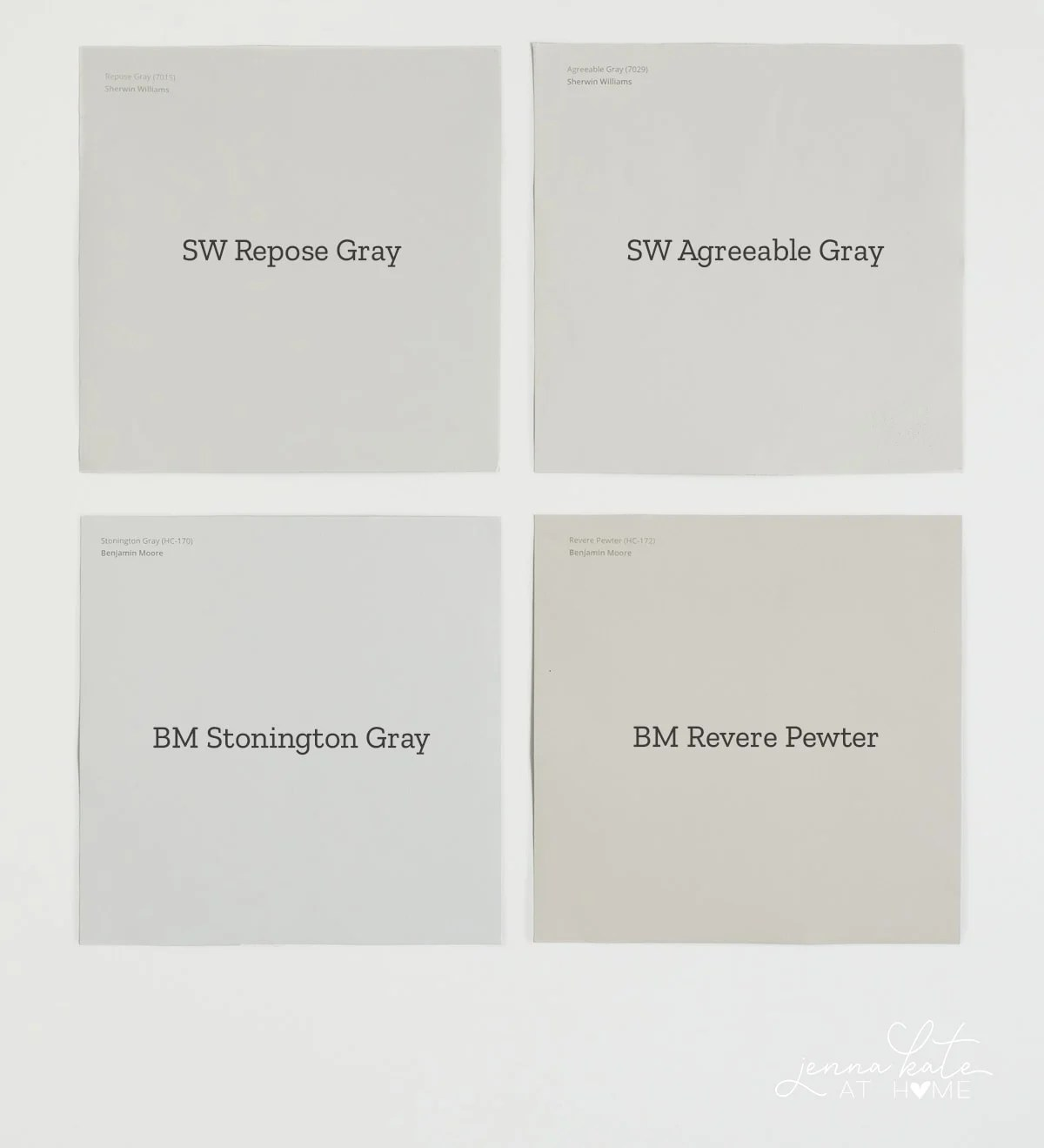 The difference in tone between 4 gray paint colors
