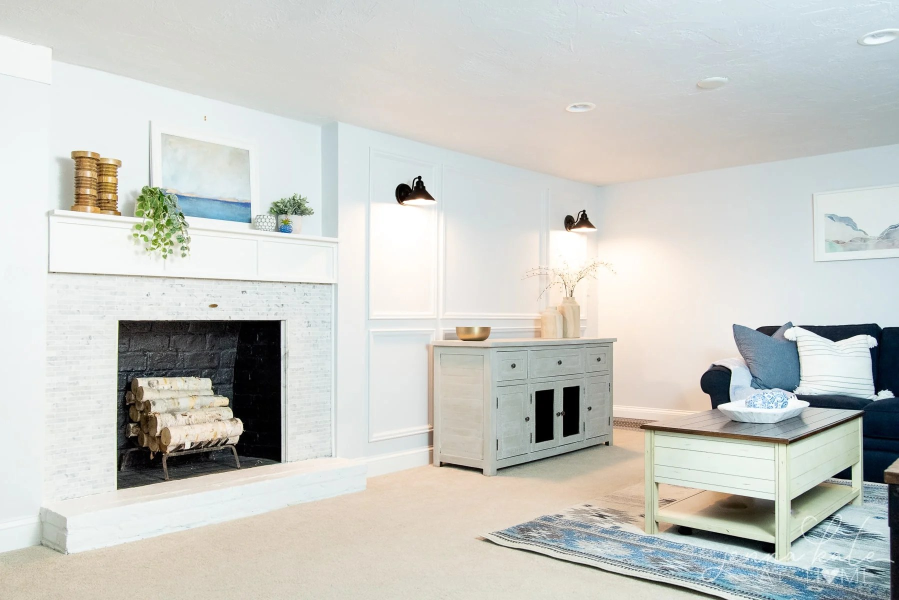 Behr Reflecting pool is a light blue gray petfect for a basement