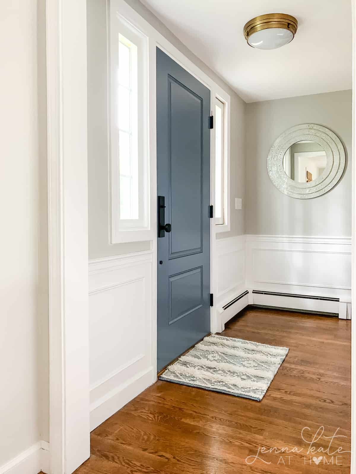 Repose Gray entryway - one of the best Sherwin Williams warm gray colors