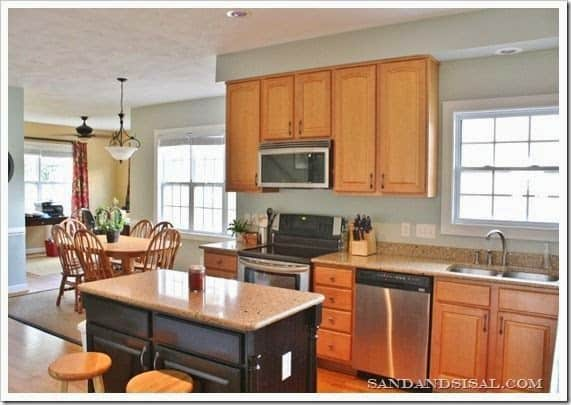 Oak kitchen cabinets work well with sherwin williams comfort gray paint color