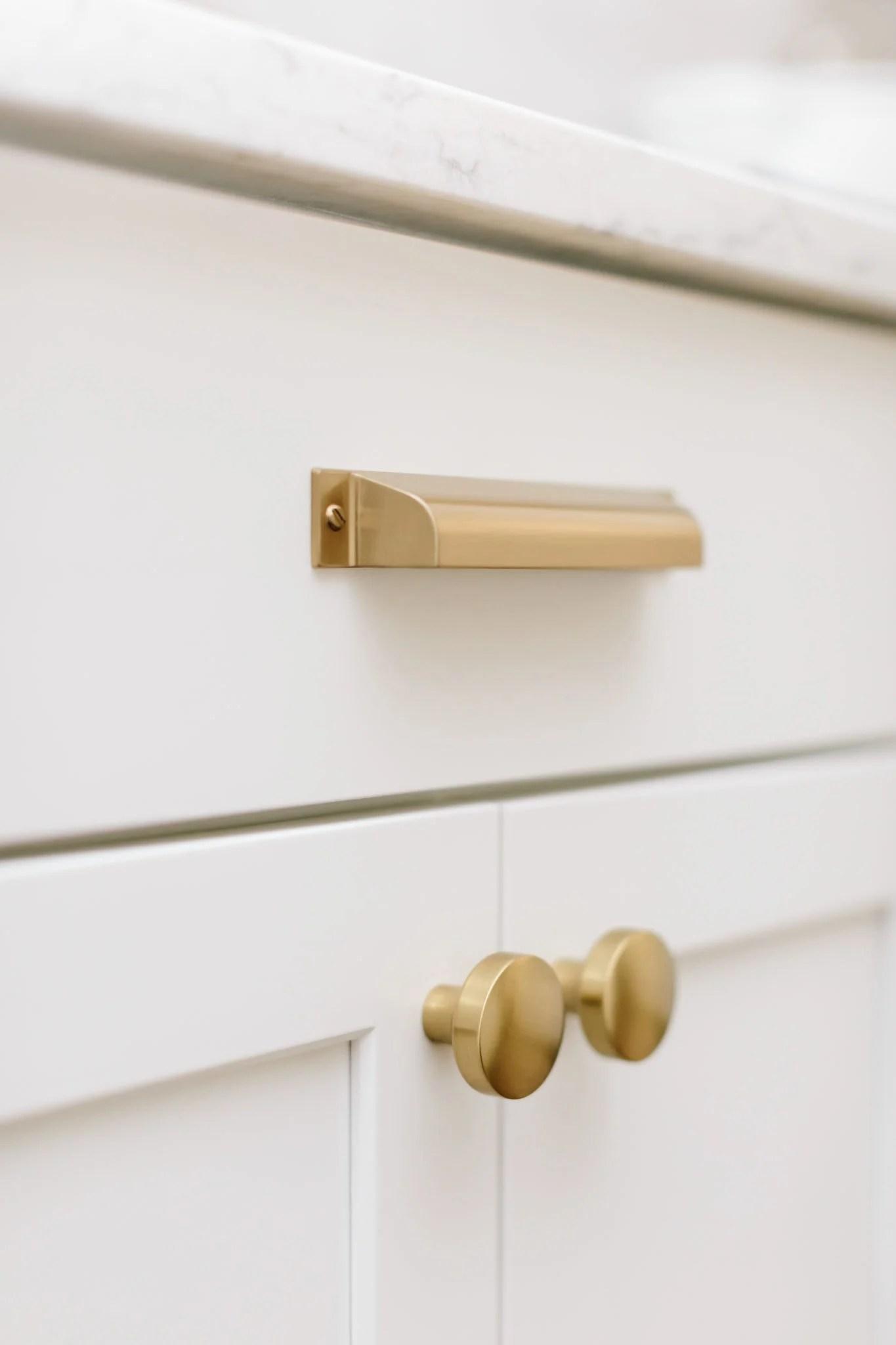 Satin brass kitchen cabinet hardware