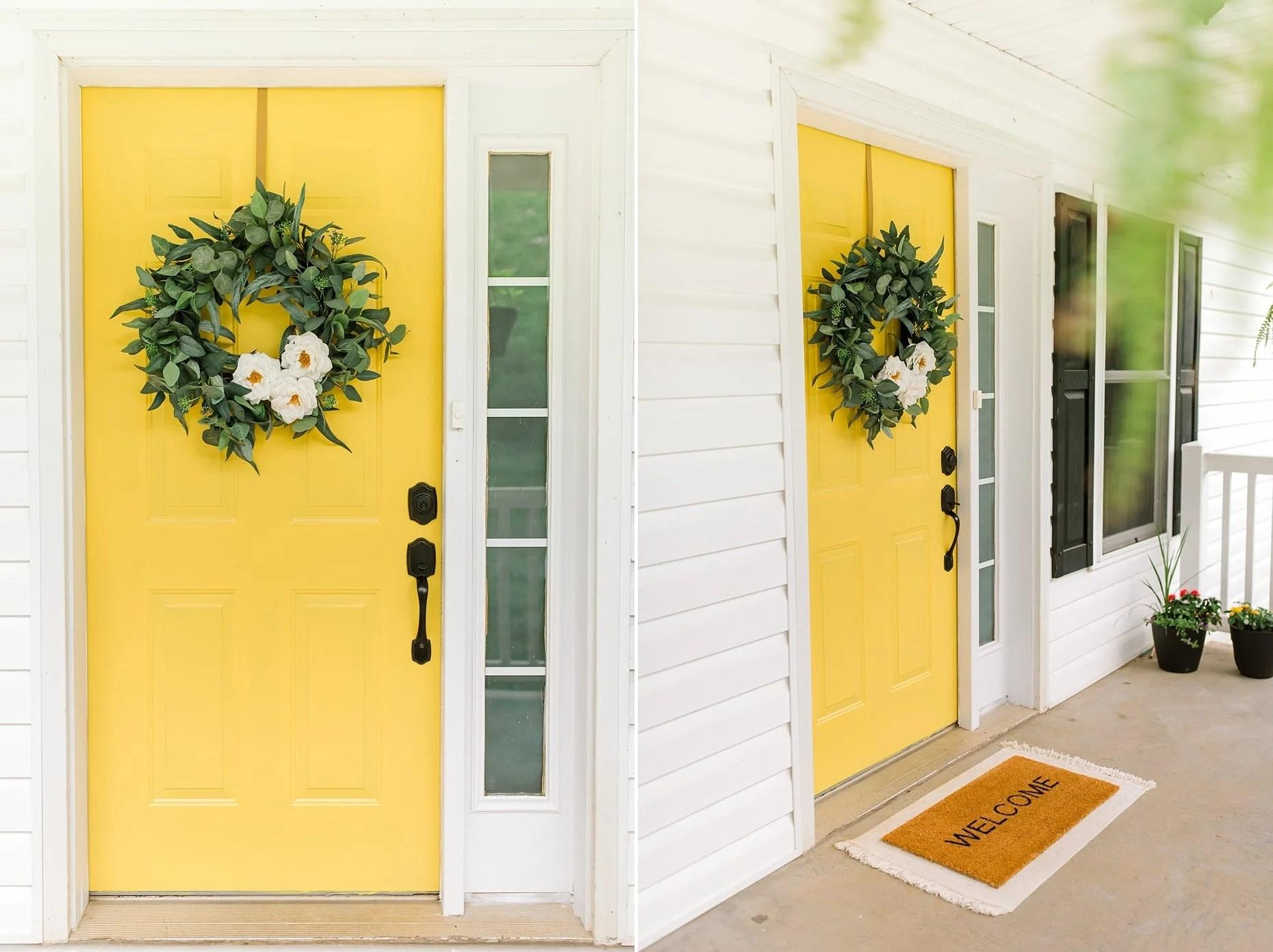 bright yellow painted door