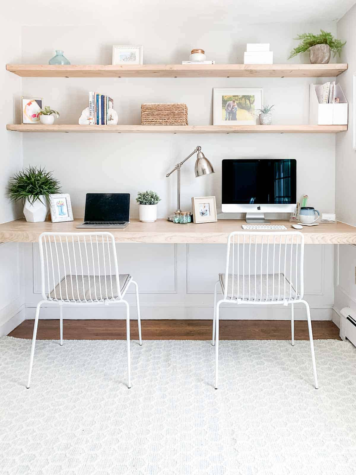 Wall length DIY floating desk with shelves