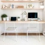 diy floating desk in office nook