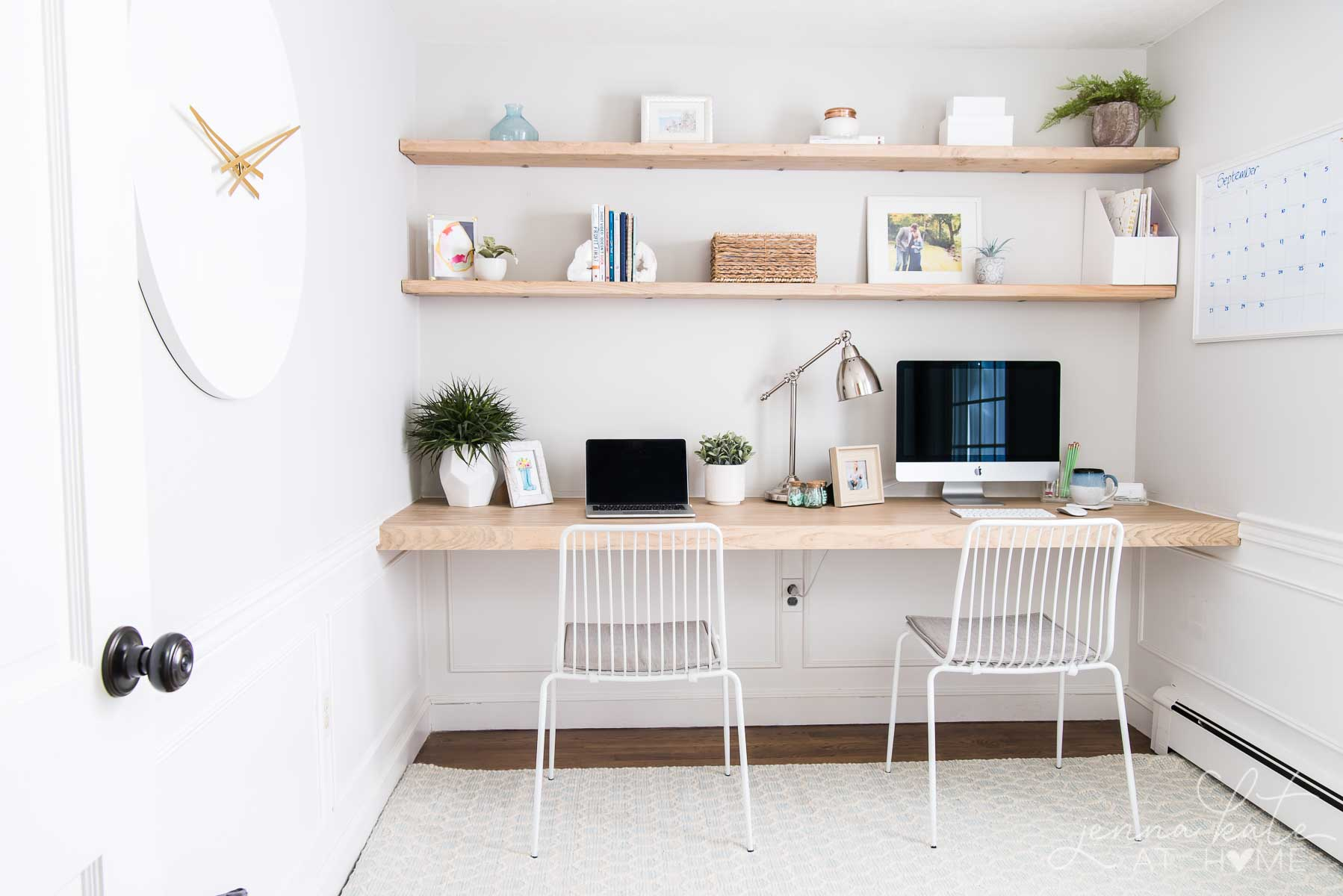 diy floating desk office nook 6