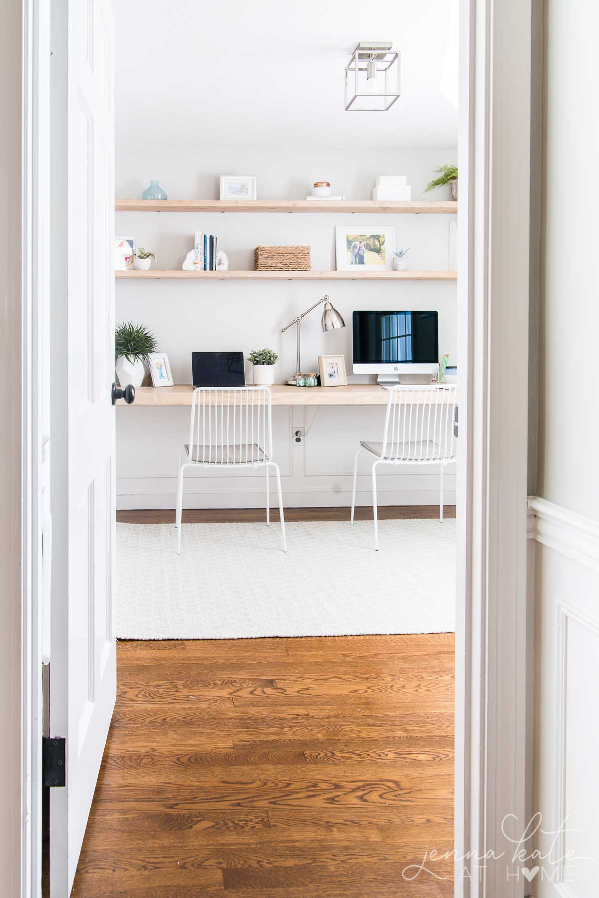 Built in floating desk nook that fits multiple kids