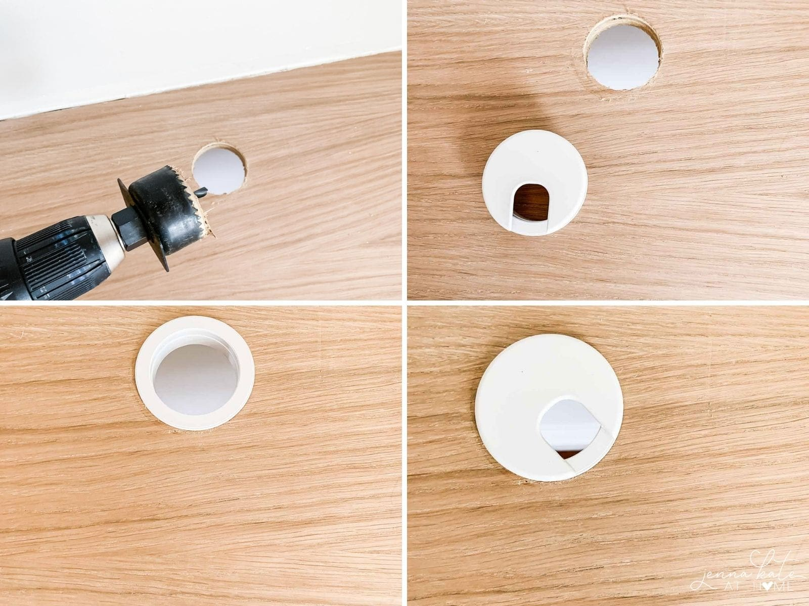 Make a hole for cables completes this modern floating desk