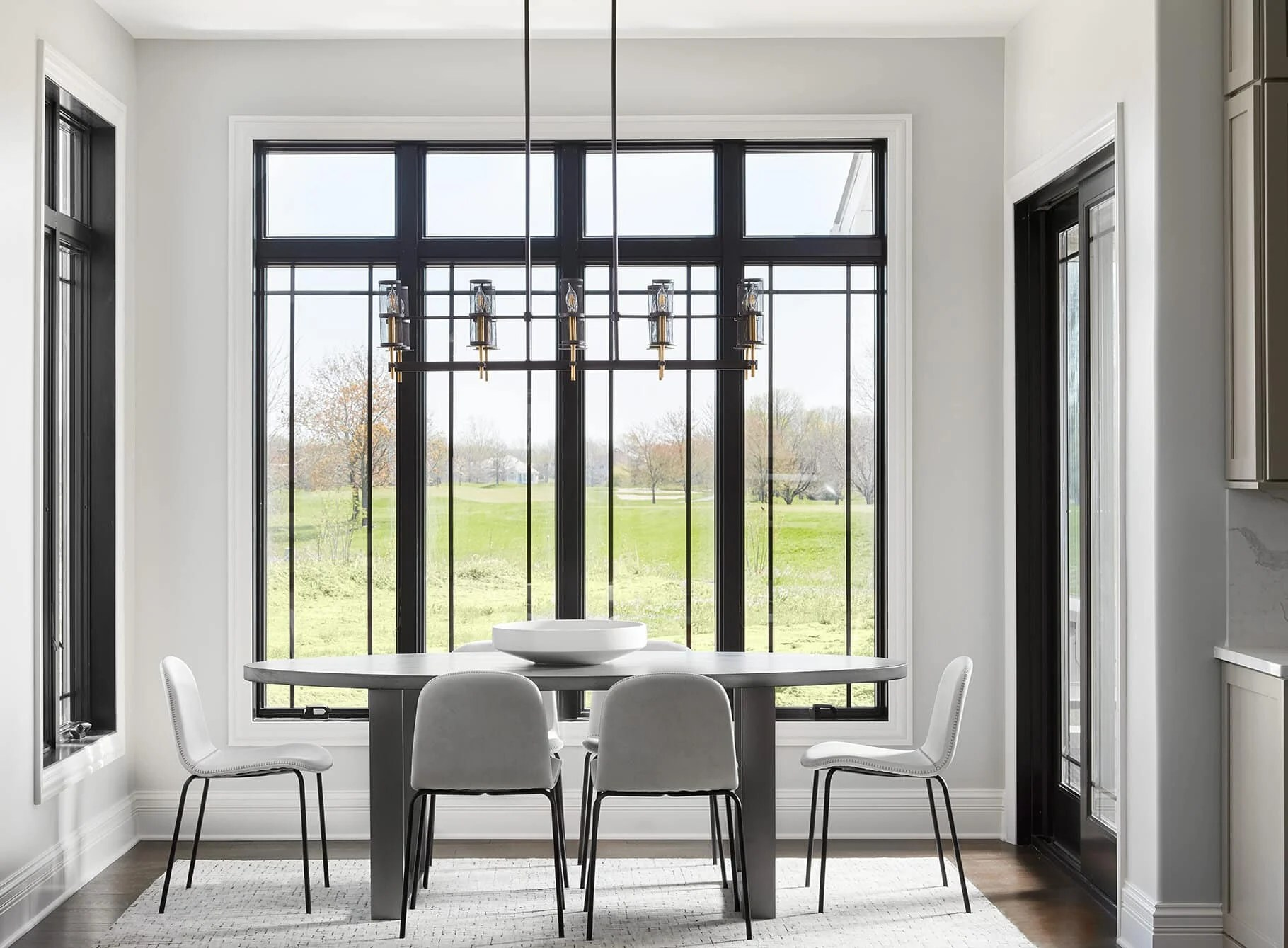 black windows with gray owl walls