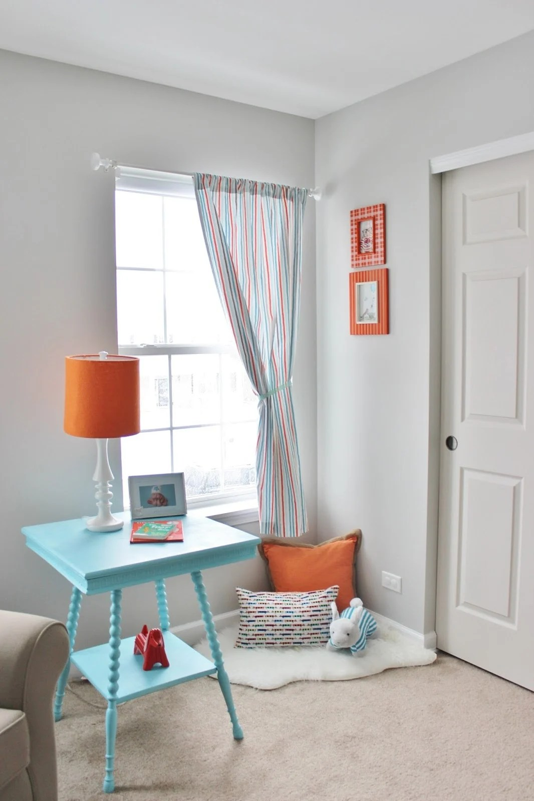 gray owl nursery with aqua and orange accents