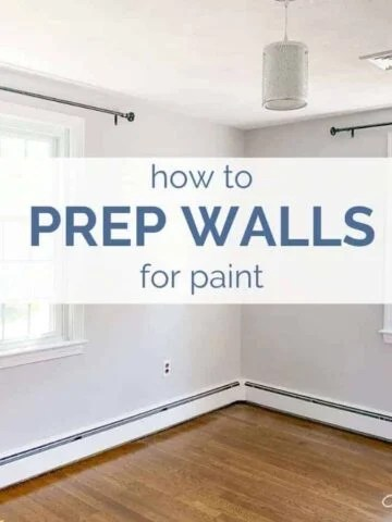 A large empty room and text that reads how to prep walls for paint