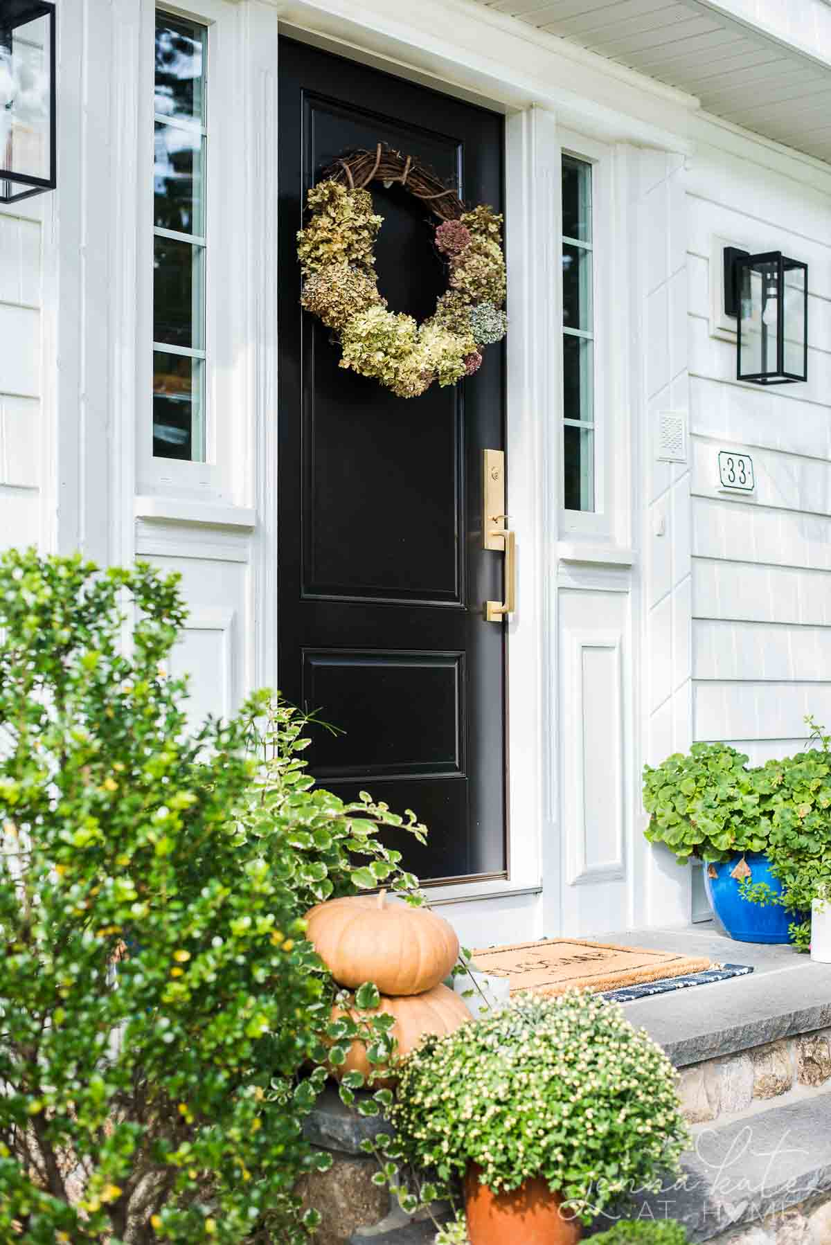 minimalistic fall front porch