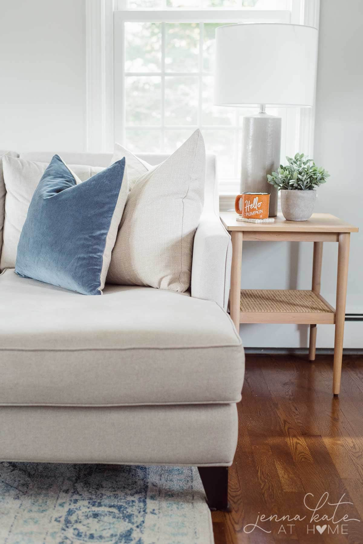 Clean and uncluttered couch and coffee table for fall