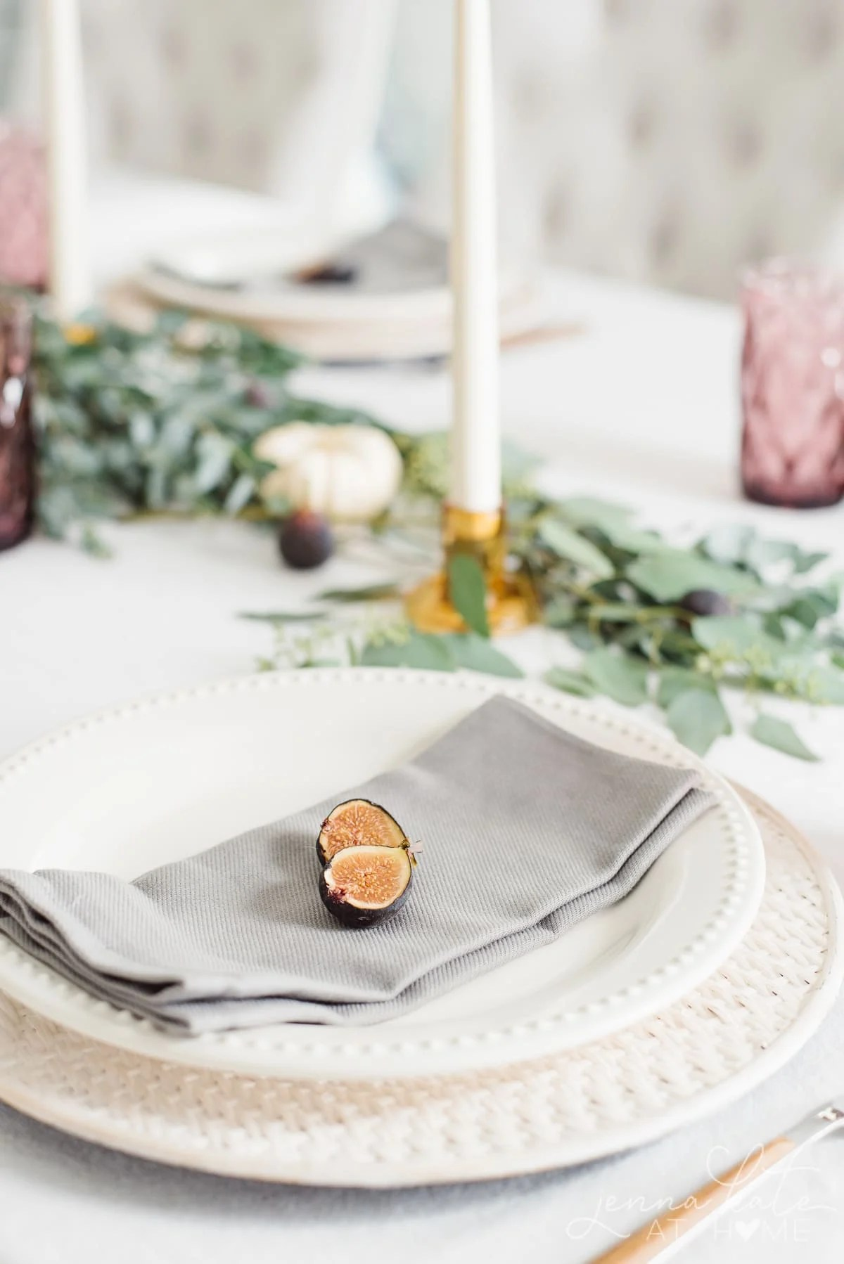 A cut fig is the natural inspiration for the color theme on the tablescape