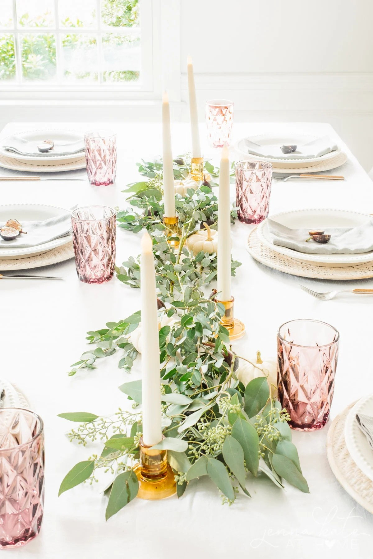 fall table setting with eucalyptus and fresh figs