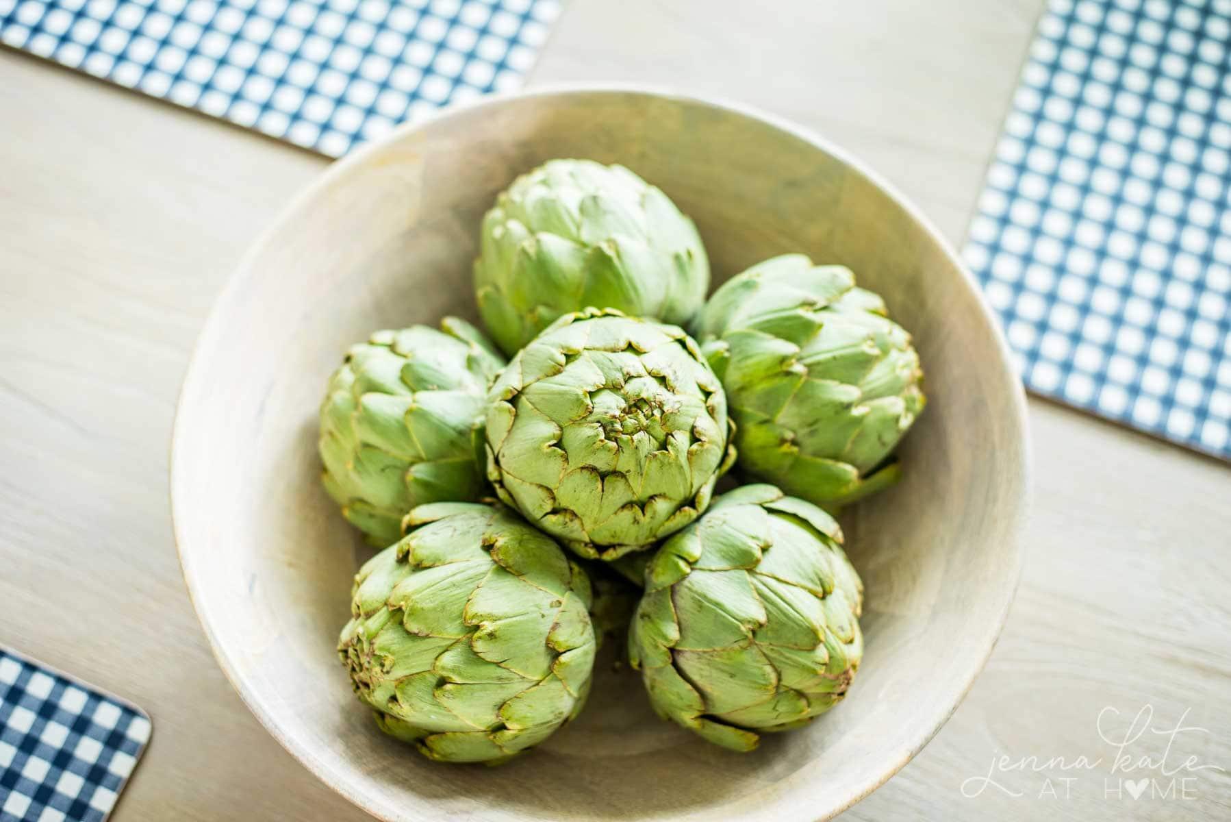 bowl of artichokes