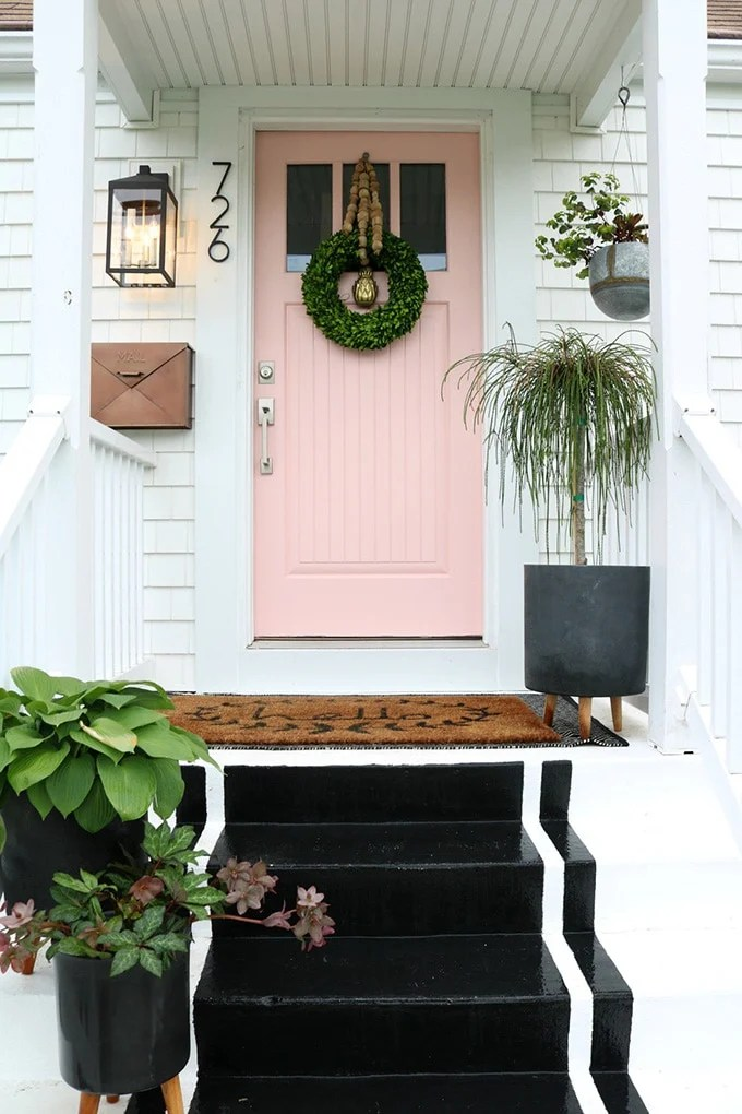 Sherwin Williams Coral Perfection front door