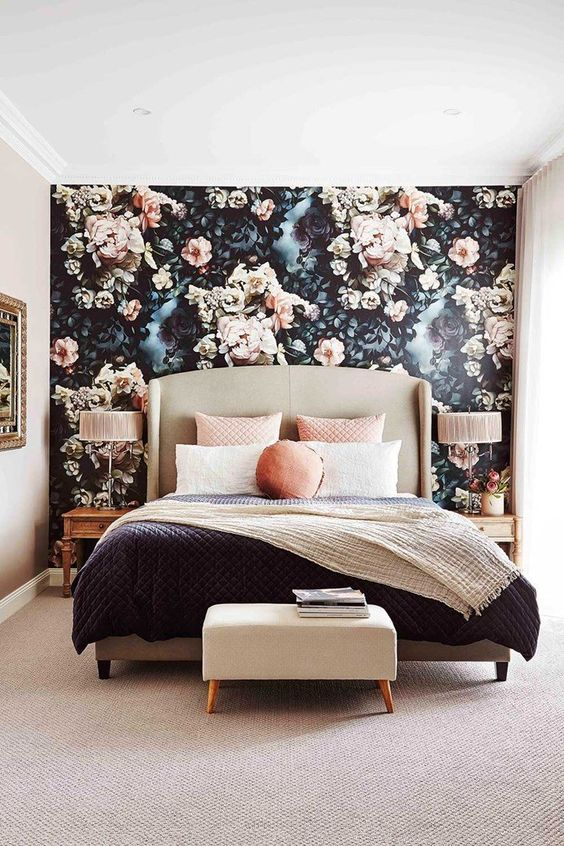 floral wallpaper accent wall idea for a bedroom