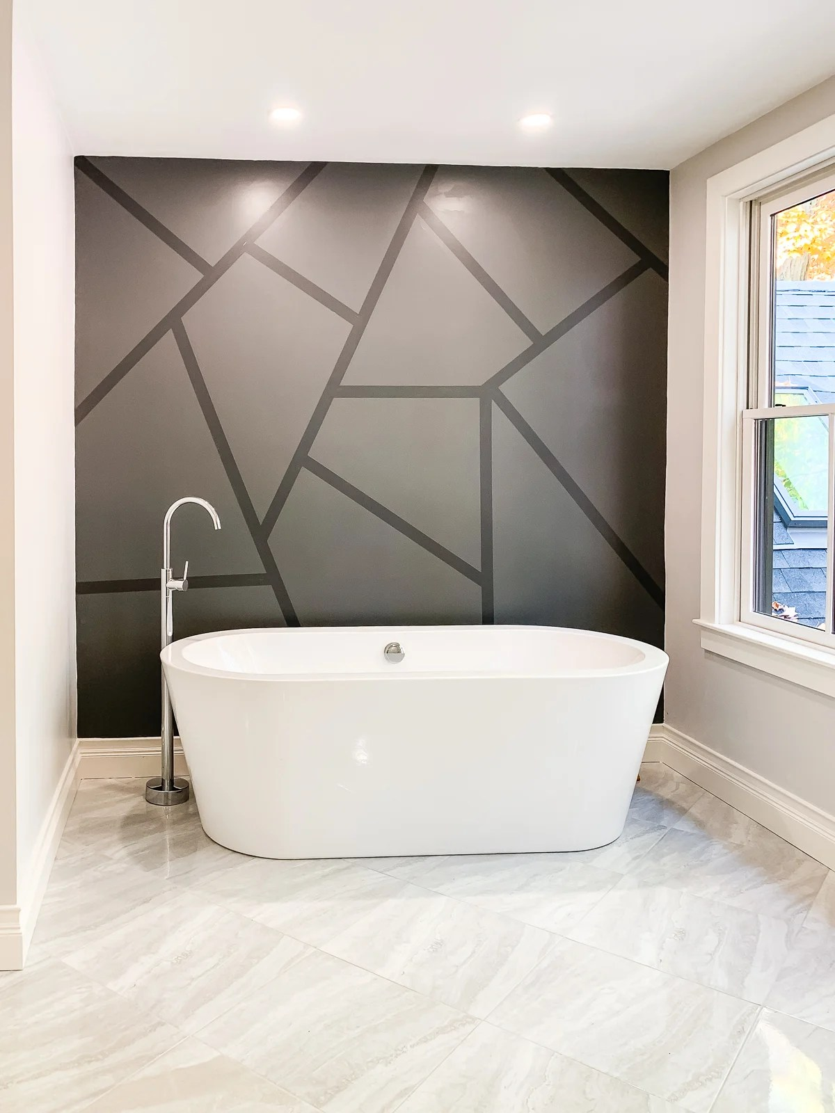 black geometric painted accent wall