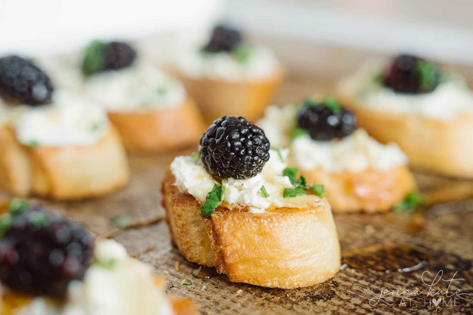 Crostini with fresh blackberries, basil and whipped goat cheese