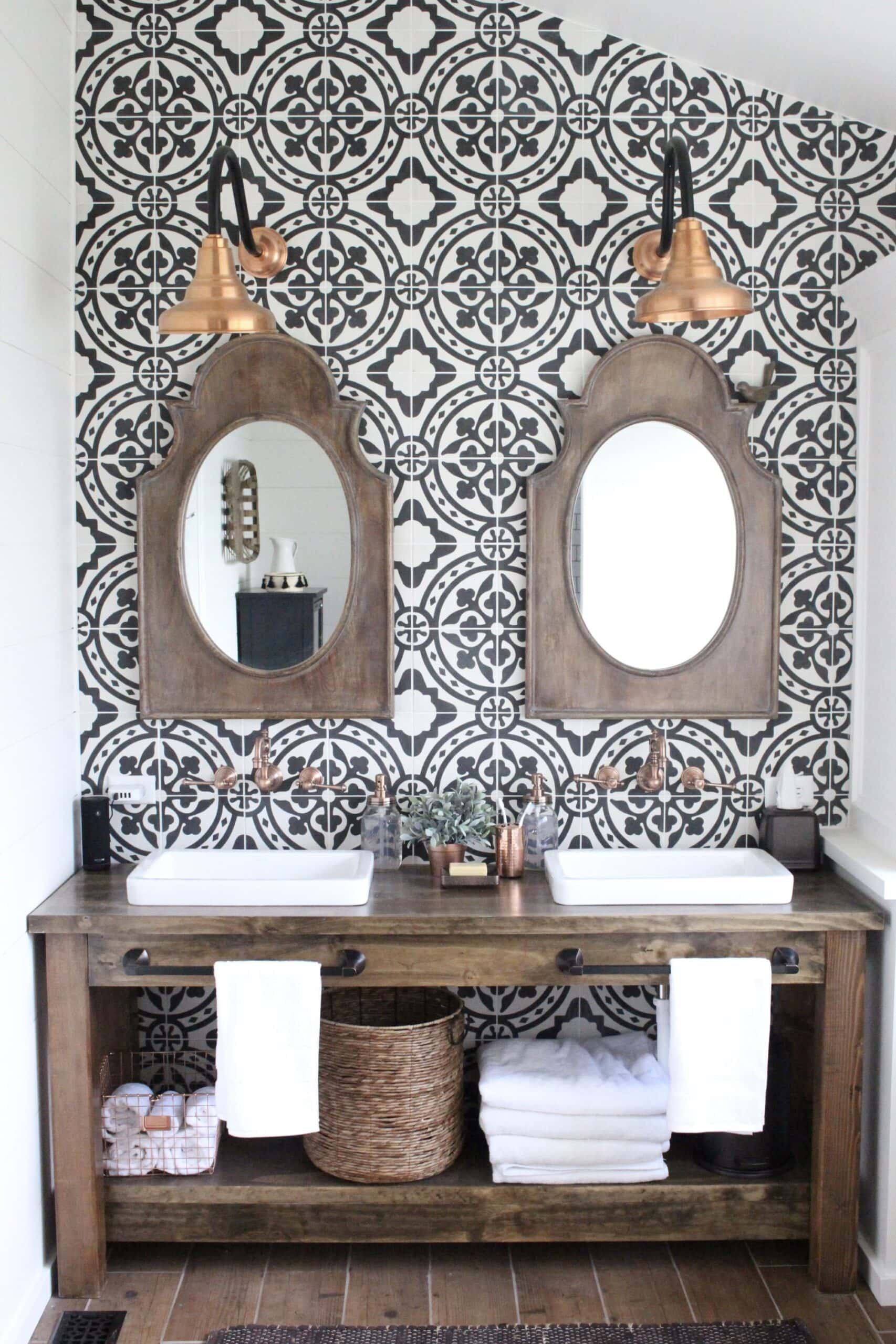 cement tile bathroom accent wall