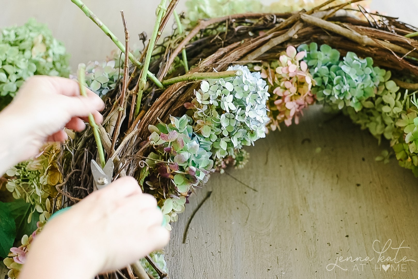 Cut the stems from the back of the wreath once it's full